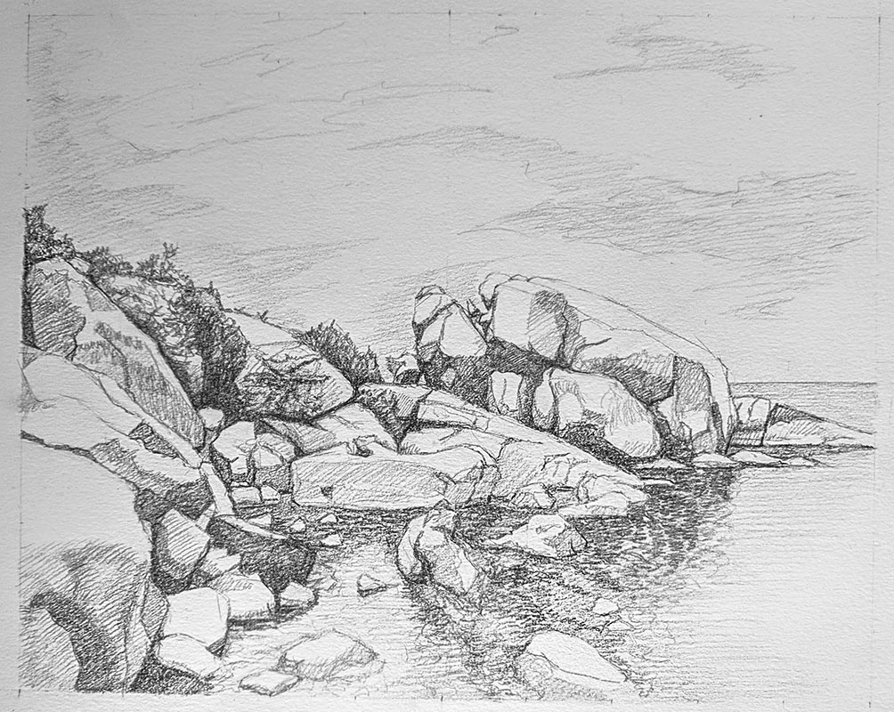 A finished drawing of a Rocky Oceanside.