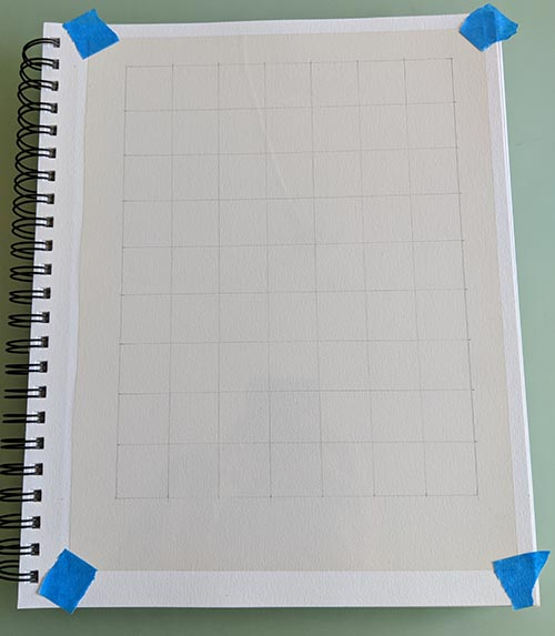 A grid with a transpancy taped to it.