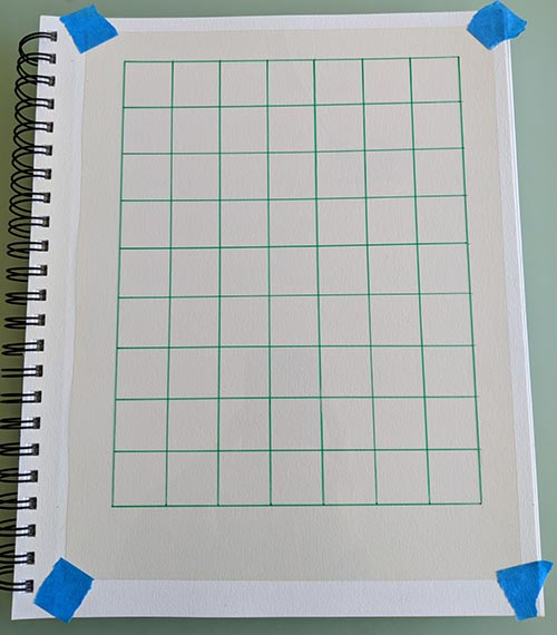 A picture of a grid drawn on a transparency.