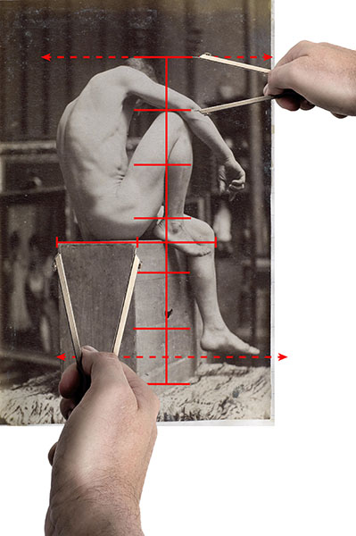 A photograph of a model with overlay of lines indicating comparative measurements.