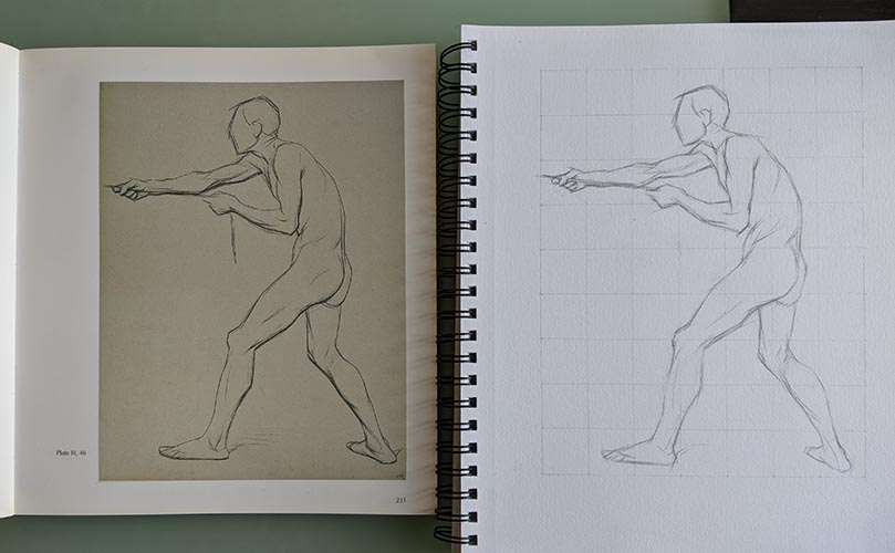A master copy drawing side by side with the original drawing.