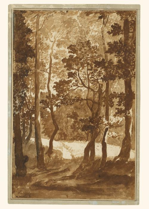 A pen and brown ink wash drawing by Nicolas Poussin