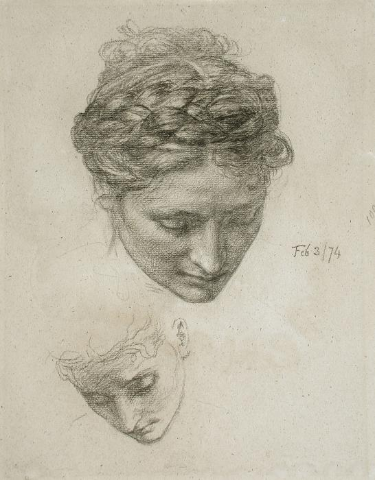 A drawing of two heads by Sir Edward Poynter