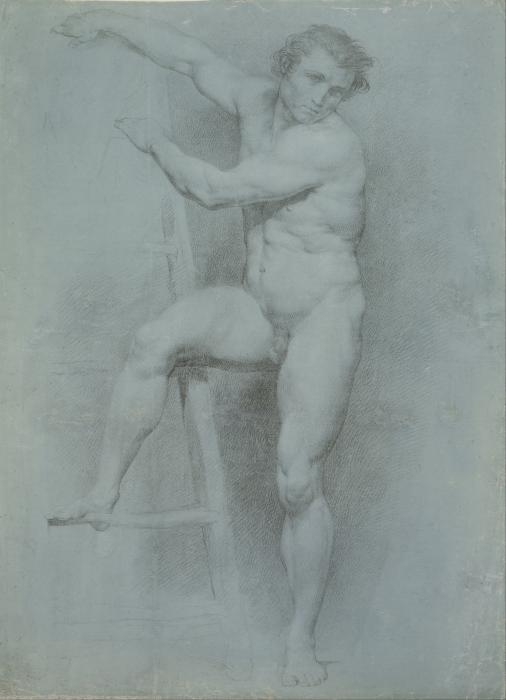 A charcoal drawing of a male nude leaning on a ladder.