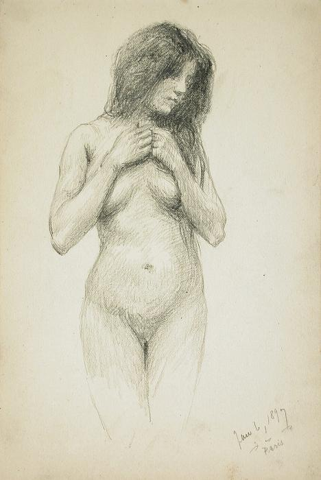 A charcoal drawing by Frank Duveneck.