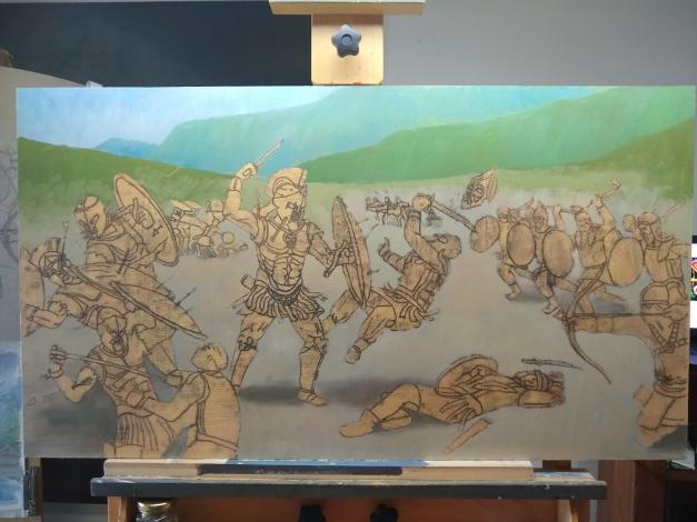 Process photo of a painting by Brian Skol