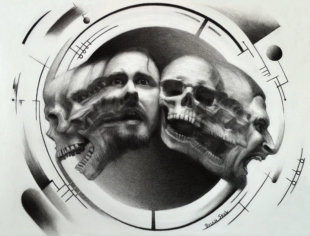 'The Mortality Paradox' by Brian Skol. Charcoal drawing on paper.
