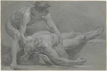 A charcoal and white chalk drawing of two male figures.